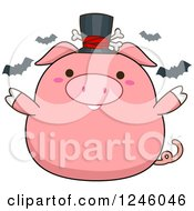 Halloween Pink Pig With Bats And A Top Hat