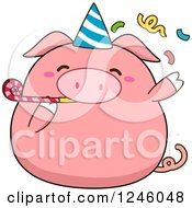 Pink Birthday Pig Blowing A Noise Maker