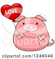Pink Pig Holding A Love Heart Balloon