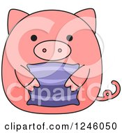 Pink Pig Holding A Pillow