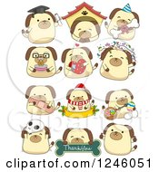 Clipart Of A Dog In Different Poses Royalty Free Vector Illustration by BNP Design Studio