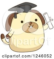 Clipart Of A Graduate Dog Holding A Diploma Royalty Free Vector Illustration by BNP Design Studio