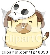 Clipart Of A Halloween Dog Wearing A Skull Mask Royalty Free Vector Illustration