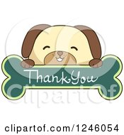 Clipart Of A Dog Over A Thank You Bone Sign Royalty Free Vector Illustration by BNP Design Studio