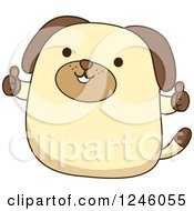 Clipart Of A Happy Dog Holding Two Thumbs Up Royalty Free Vector Illustration