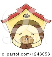 Clipart Of A Dog Resting In A House Royalty Free Vector Illustration by BNP Design Studio