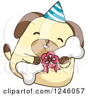 Clipart Of A Birthday Dog Hugging A Bone Royalty Free Vector Illustration by BNP Design Studio