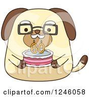 Clipart Of A Senior Dog Holding A 60 Year Cake Royalty Free Vector Illustration