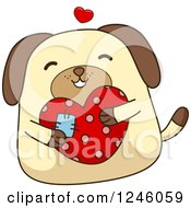 Clipart Of A Dog Hugging A Patched Heart Royalty Free Vector Illustration