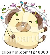 Clipart Of A Party Dog With Confetti Royalty Free Vector Illustration