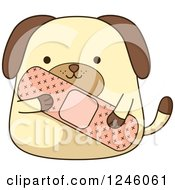 Clipart Of A Dog Holding A Giant Bandage Royalty Free Vector Illustration by BNP Design Studio