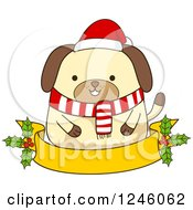 Clipart Of A Christmas Dog In A Scarf And Santa Hat Over A Ribbon Banner With Holly Royalty Free Vector Illustration