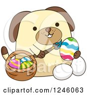 Clipart Of A Dog Painting Easter Eggs Royalty Free Vector Illustration