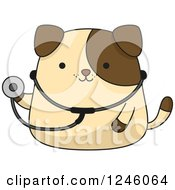 Clipart Of A Brown Puppy Dog Doctor With A Stethoscop Royalty Free Vector Illustration
