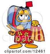Clipart Picture Of A Blue Postal Mailbox Cartoon Character In Orange And Red Snorkel Gear