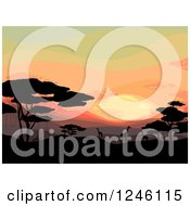 Clipart Of A Safari Sunset With Silhouetted Giraffes And Trees Royalty Free Vector Illustration