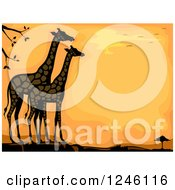 Clipart Of Giraffes Against An Orange Sunset Royalty Free Vector Illustration by BNP Design Studio