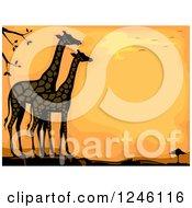 Clipart Of Giraffes Against An Orange Sunset Royalty Free Vector Illustration