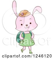 Clipart Of A Cute School Rabbit Girl Royalty Free Vector Illustration