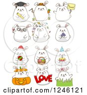 Clipart Of A White Bunny Rabbit In Different Poses Royalty Free Vector Illustration by BNP Design Studio