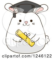 Clipart Of A White Bunny Rabbit Graduate Royalty Free Vector Illustration