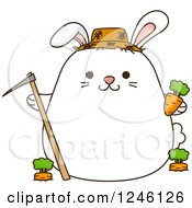 Clipart Of A White Farmer Bunny Rabbit With Carrots Royalty Free Vector Illustration