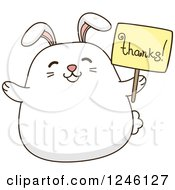 Clipart Of A White Bunny Rabbit Holding A Thanks Sign Royalty Free Vector Illustration by BNP Design Studio