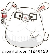 Clipart Of A Senior White Bunny Rabbit Cheering With Wine Royalty Free Vector Illustration