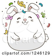 Clipart Of A White Bunny Rabbit With Party Confetti Royalty Free Vector Illustration