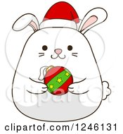 Clipart Of A White Christmas Bunny Rabbit Holding A Bauble Royalty Free Vector Illustration