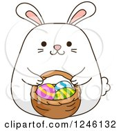 Clipart Of A White Bunny Rabbit With A Basket Of Easter Eggs Royalty Free Vector Illustration by BNP Design Studio