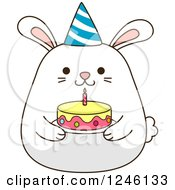 Clipart Of A White Birthday Bunny Rabbit Holding A Cake Royalty Free Vector Illustration
