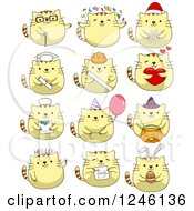 Clipart Of Yellow Kitty Cats In Different Poses Royalty Free Vector Illustration