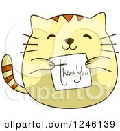 Clipart Of A Yellow Kitty Cat Holding A Thank You Card Royalty Free Vector Illustration by BNP Design Studio