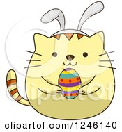 Clipart Of A Yellow Easter Kitty Cat Holding An Egg And Wearing Bunny Ears Royalty Free Vector Illustration by BNP Design Studio