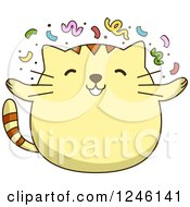 Clipart Of A Yellow Kitty Cat With Party Confetti Royalty Free Vector Illustration