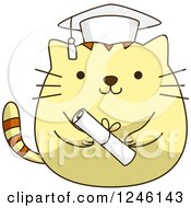 Clipart Of A Yellow Graduation Kitty Cat With A Cap And Diploma Royalty Free Vector Illustration