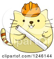 Yellow Construction Kitty Cat Holding Blueprints