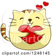 Clipart Of A Yellow Kitty Cat Hugging A Heart Royalty Free Vector Illustration