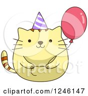 Clipart Of A Yellow Birthday Kitty Cat With A Party Hat And Balloon Royalty Free Vector Illustration