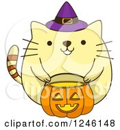 Clipart Of A Yellow Halloween Kitty Cat Wearing A Witch Hat Royalty Free Vector Illustration by BNP Design Studio