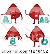 Clipart Of Blood Drop Characters With Type Signs Royalty Free Vector Illustration