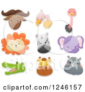 Clipart Of Safari Animal Faces Royalty Free Vector Illustration by BNP Design Studio