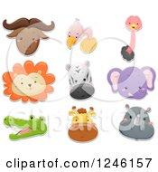 Clipart Of Safari Animal Faces Royalty Free Vector Illustration
