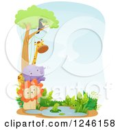 Clipart Of African Safari Party Animals At A Watering Hole Royalty Free Vector Illustration