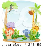 Clipart Of African Safari Animals At A Watering Hole Royalty Free Vector Illustration by BNP Design Studio