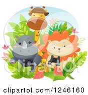 Clipart Of A Cute Baby Safari Rhino Lion And Giraffe With Gear Royalty Free Vector Illustration