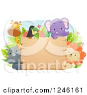 Clipart Of African Safari Animals Around A Wooden Sign Royalty Free Vector Illustration
