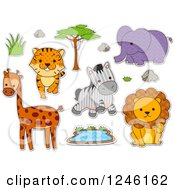 Clipart Of Safari Zoo Animals With Patterns Royalty Free Vector Illustration by BNP Design Studio