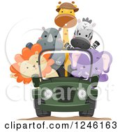 Clipart Of African Safari Animals Riding In A Jeep Royalty Free Vector Illustration